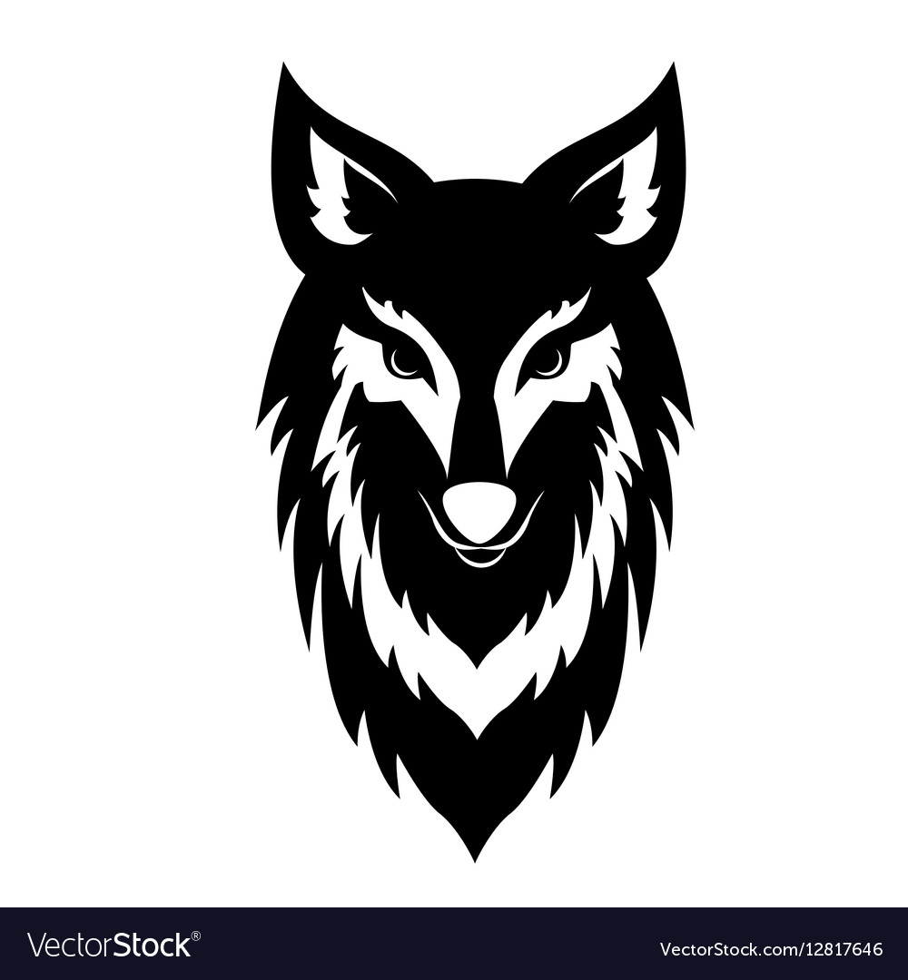 black wolf face logo royalty free vector image
