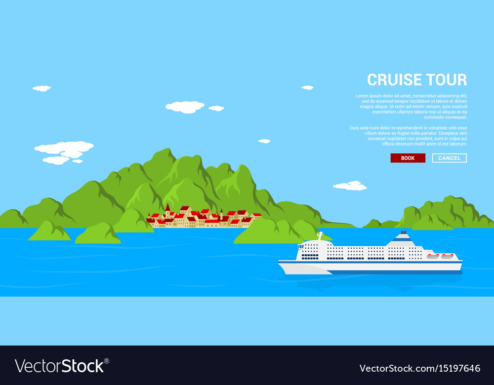 Cruise tour banner vector