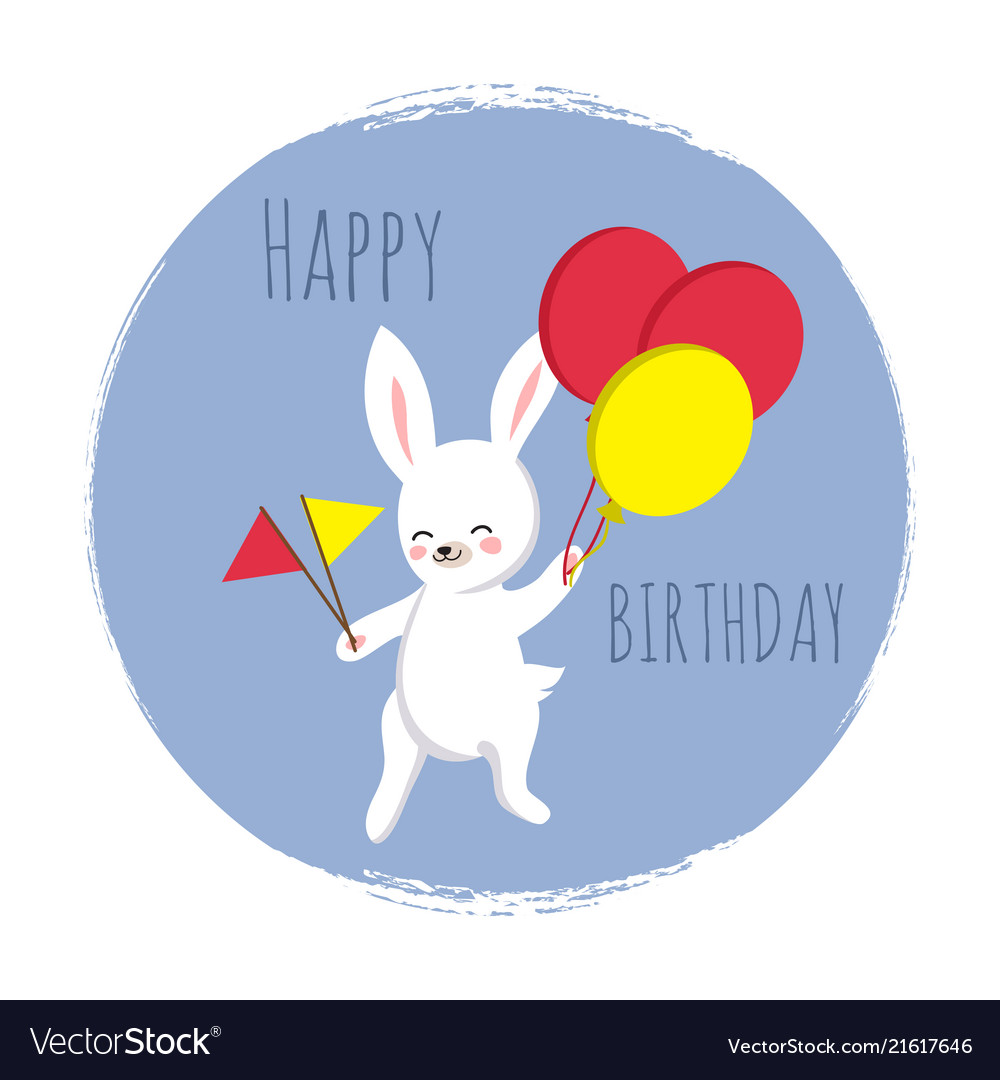 Cute bunny with flags and balloons happy birthday