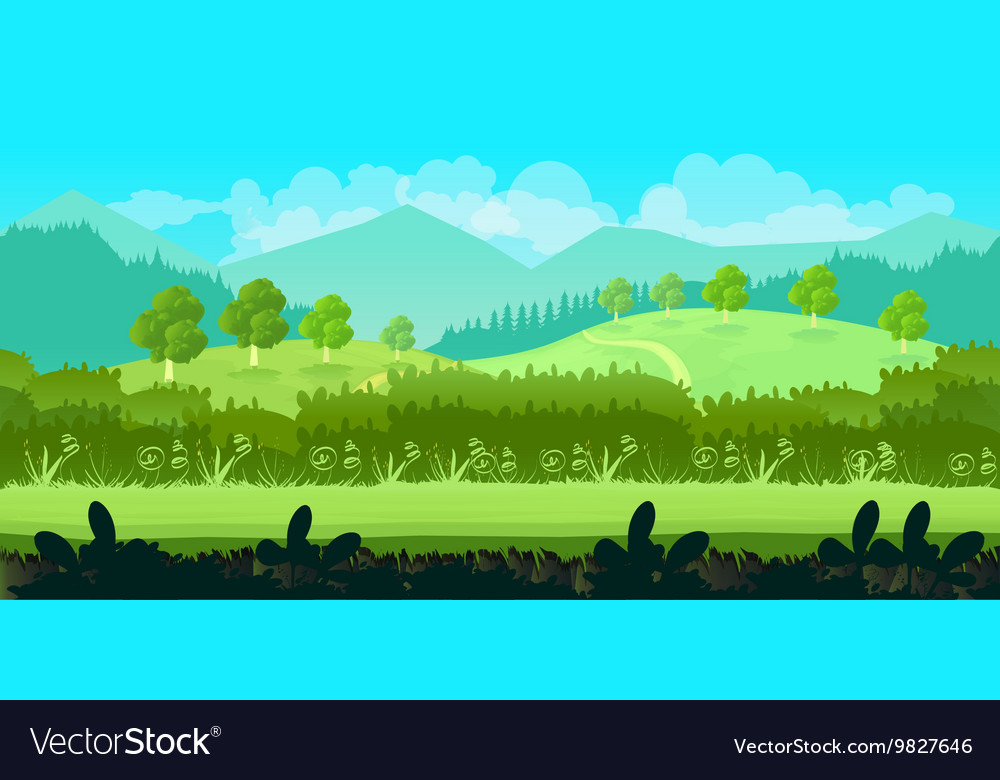 Cute cartoon seamless landscape with separated