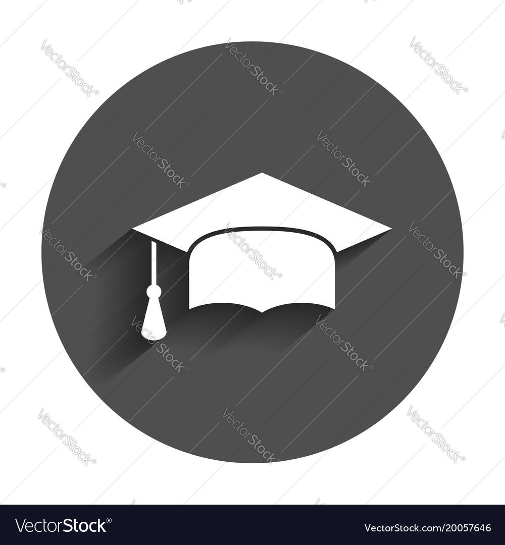 Graduation cap flat design icon finish education