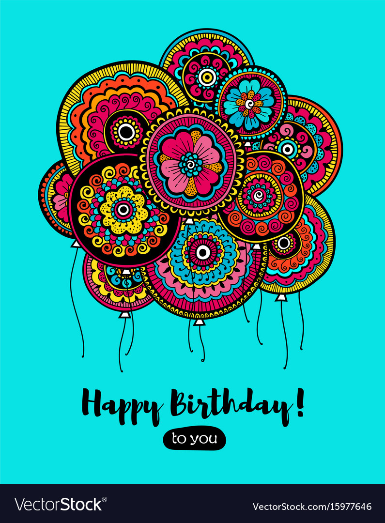 Happy birthday card with balloons indian pattern