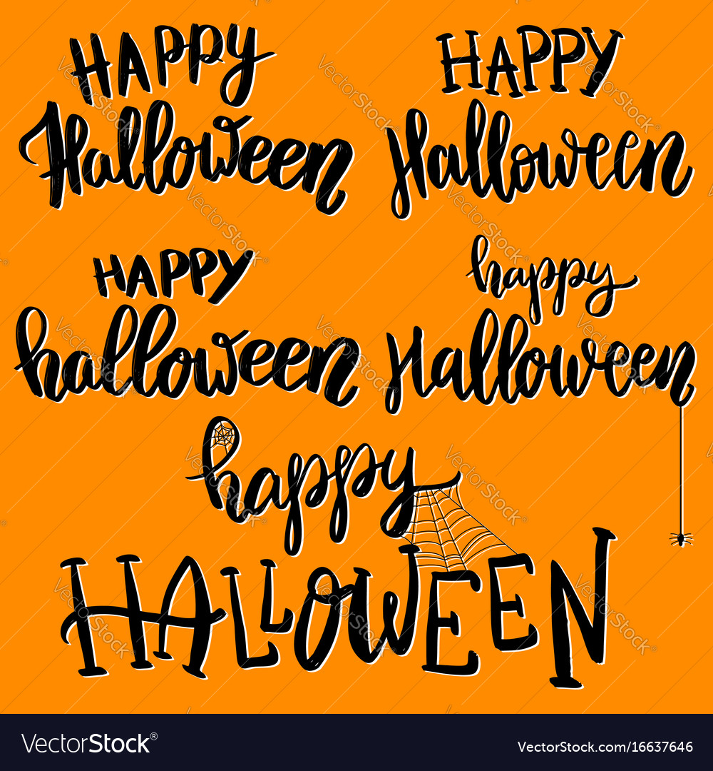 Happy halloween set of hand drawn lettering vector image