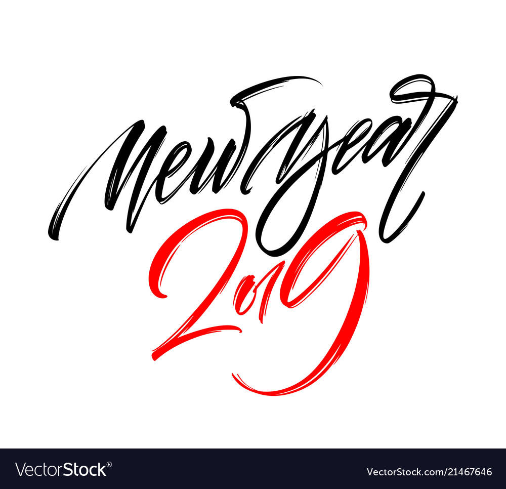 Happy new year 2019 hand writting lettering design