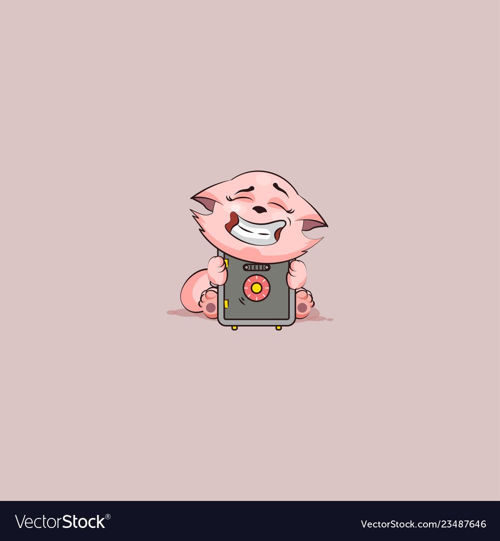 Kitty sticker emoticon hug safe with money