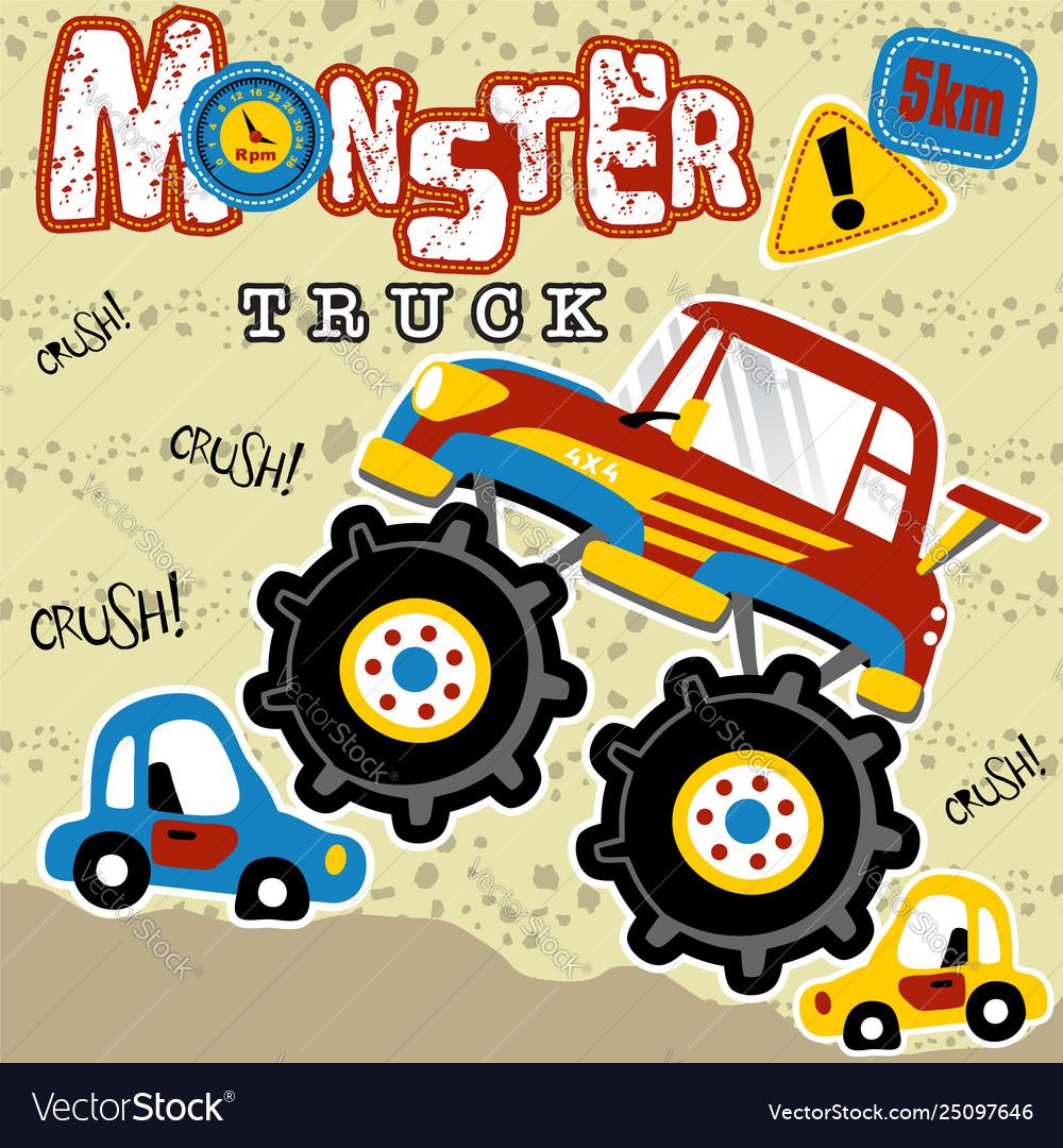 Monster Trucks Cartoon Royalty Free Vector Image