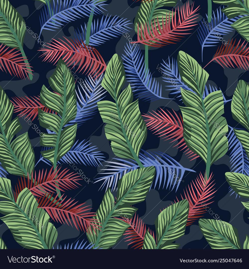 Multicolor tropical banana leaves seamless camo