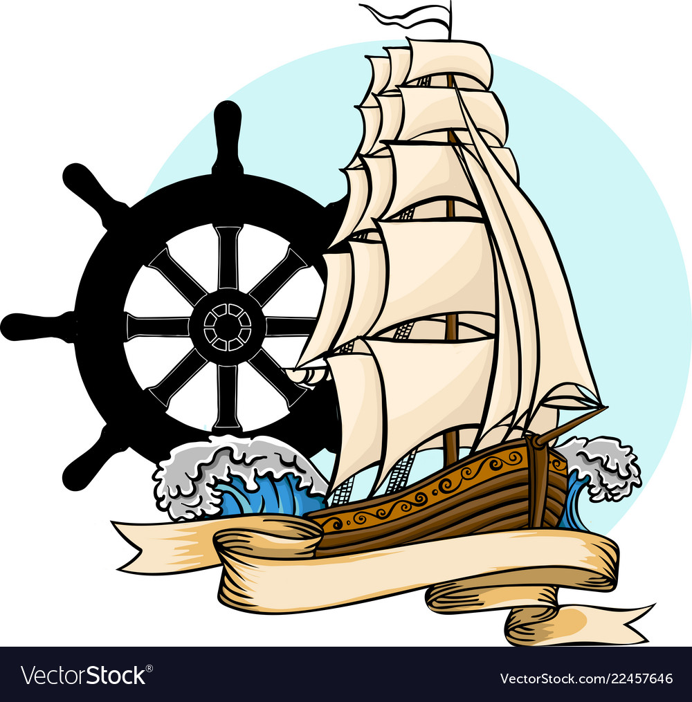 Old ship flat cartoon