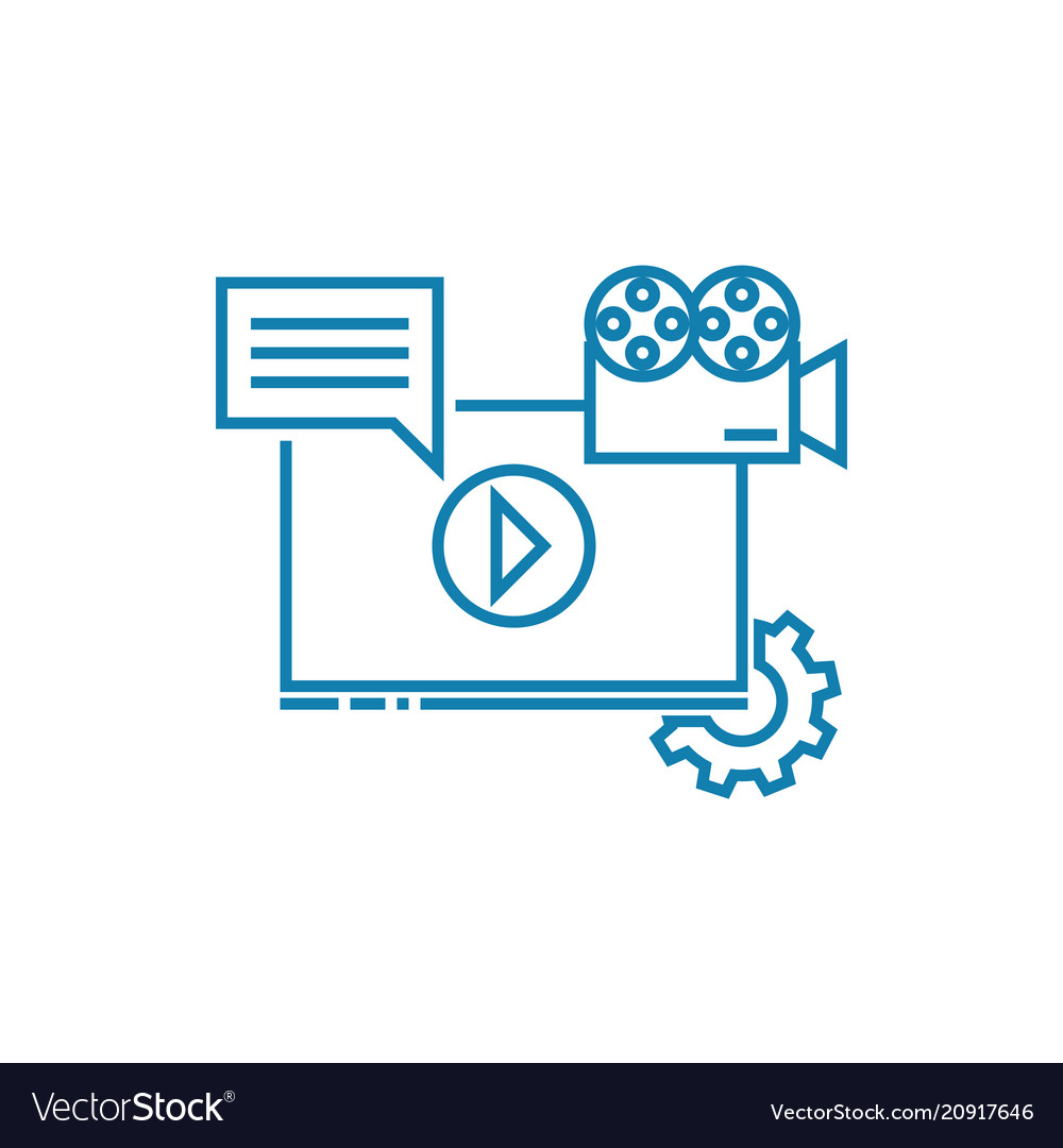 Online media linear icon concept online media