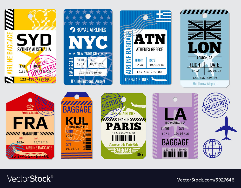 Retro baggage tags and travel stock