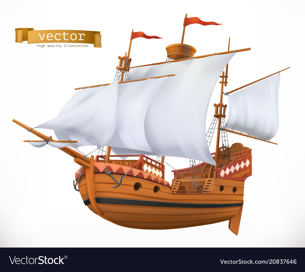 Sailing ship 3d icon