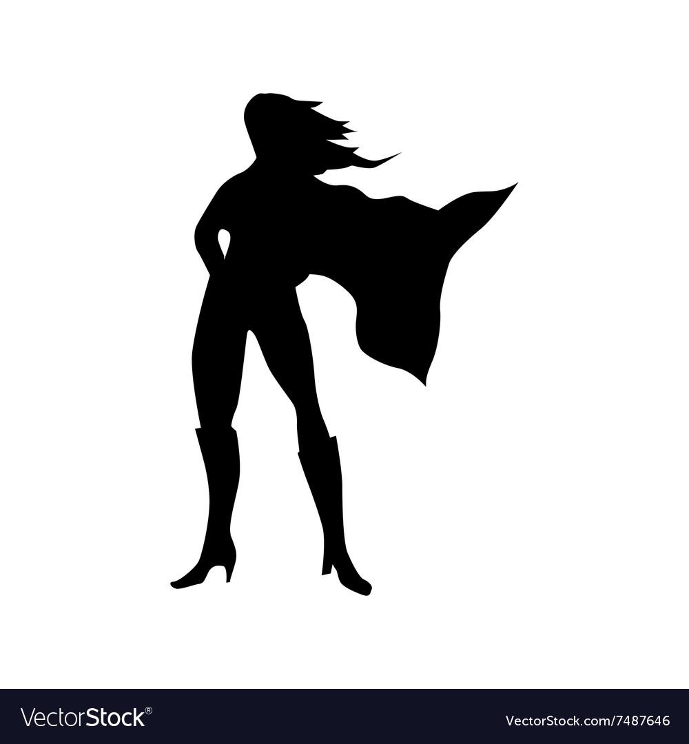 superhero woman silhouette royalty free vector image