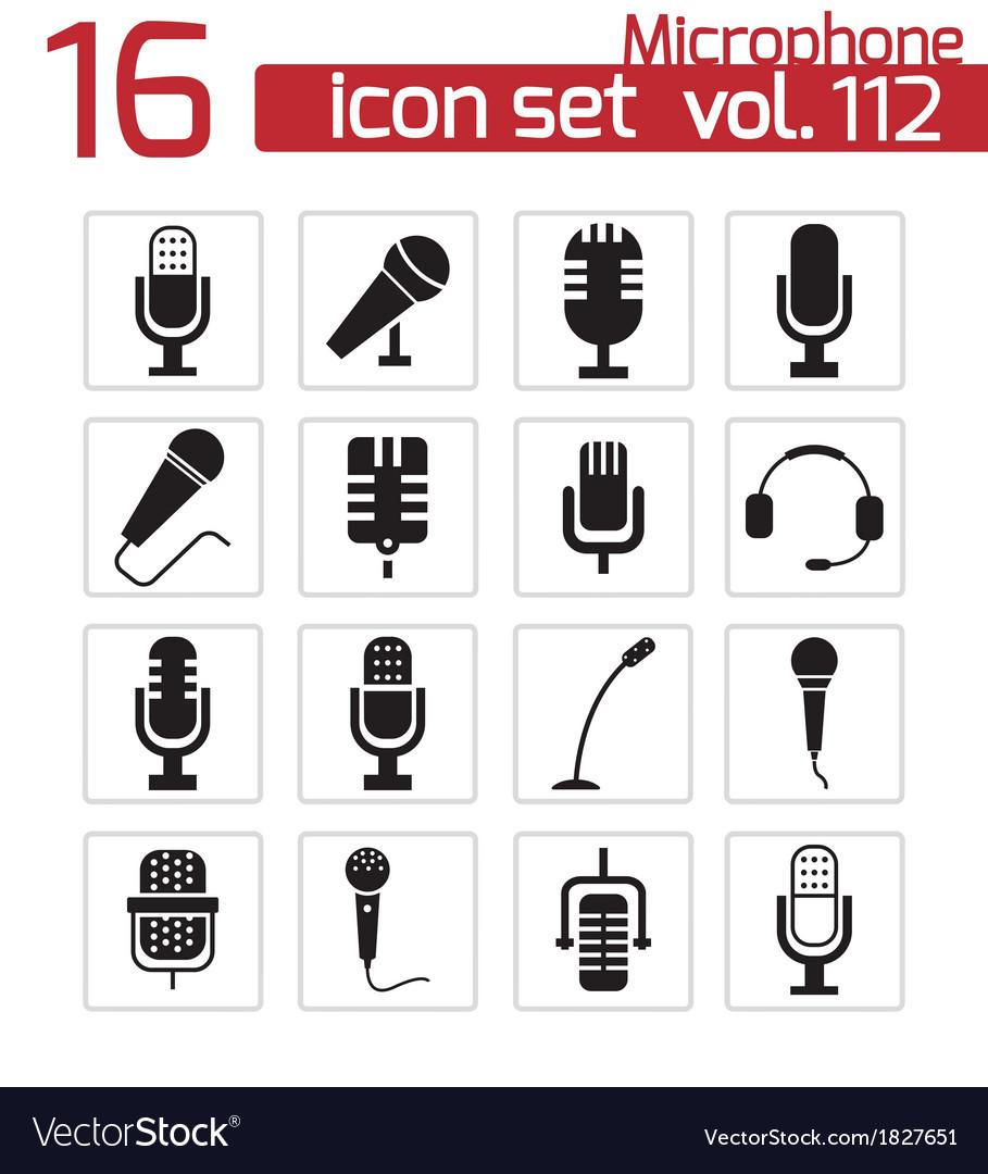 Black microphone icons set