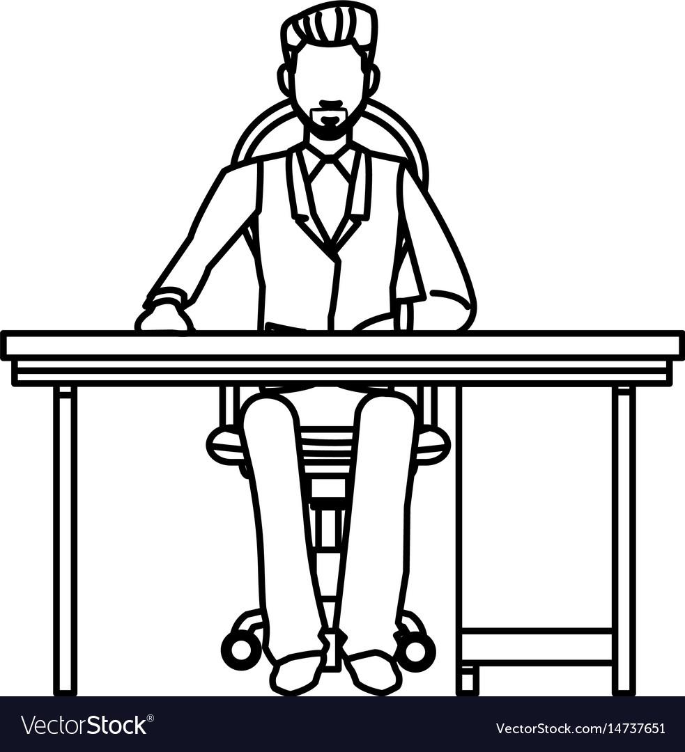 Business man sitting desk working outline