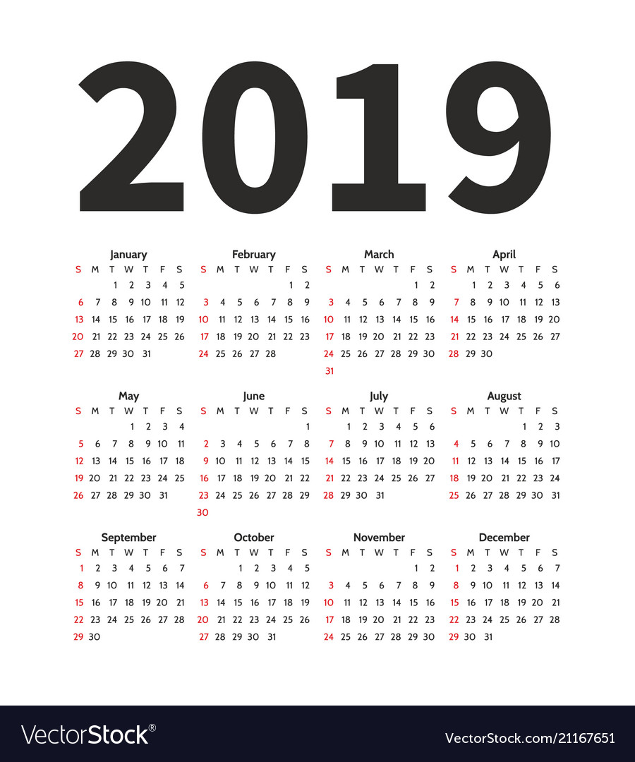 Calendar 2019 Year Design Template Simple Vector Image