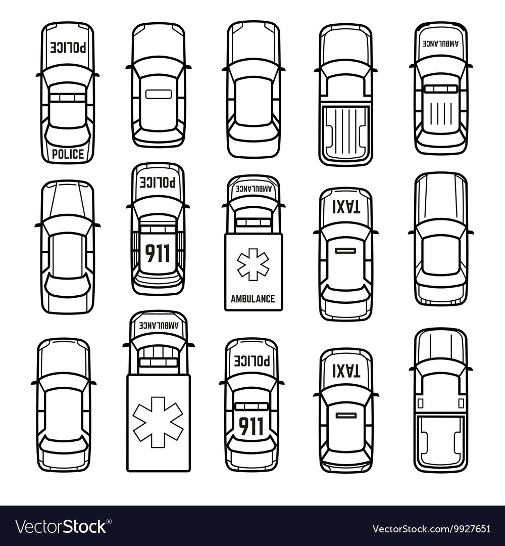 Cars top view thin line icons vector image