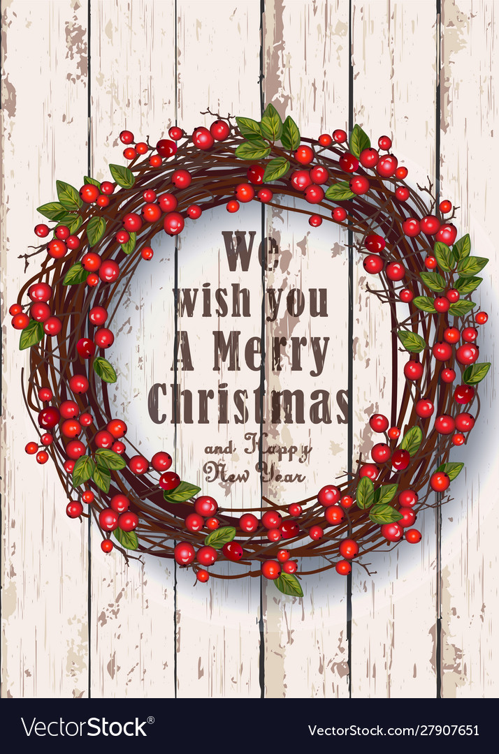 Christmas wreath on a rustic background