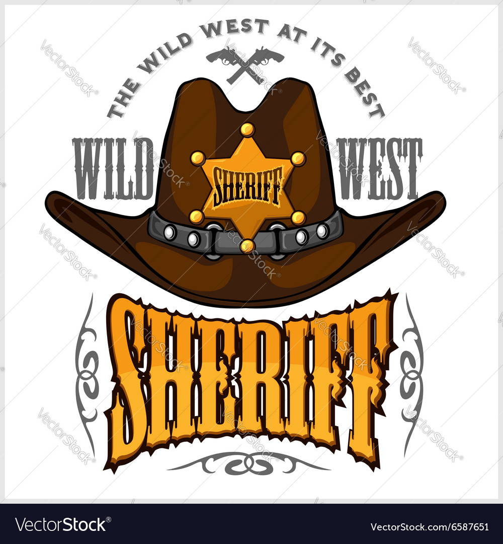 9cee6e51bde Cowboy hat and sheriffs star - badge emblem Vector Image