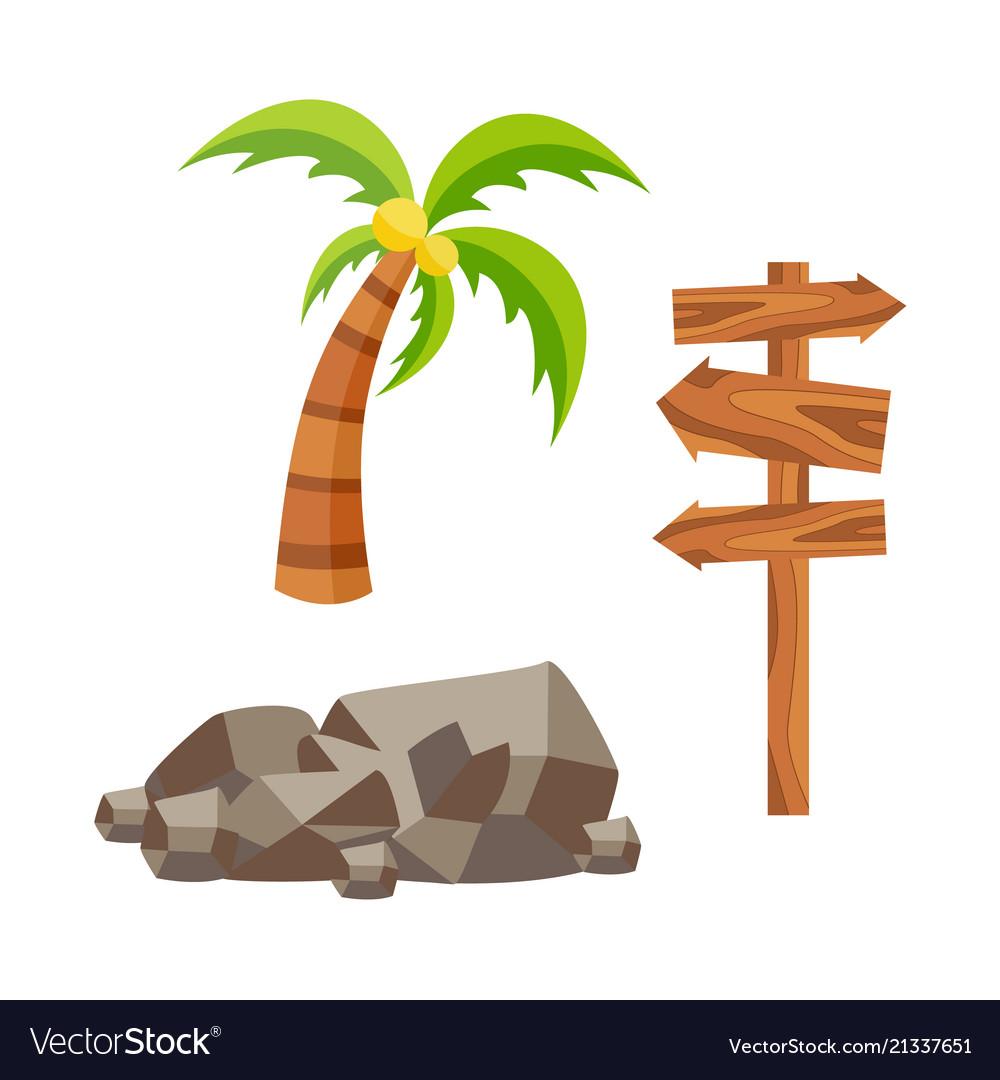 Flat travelling beach vacation symbols icon