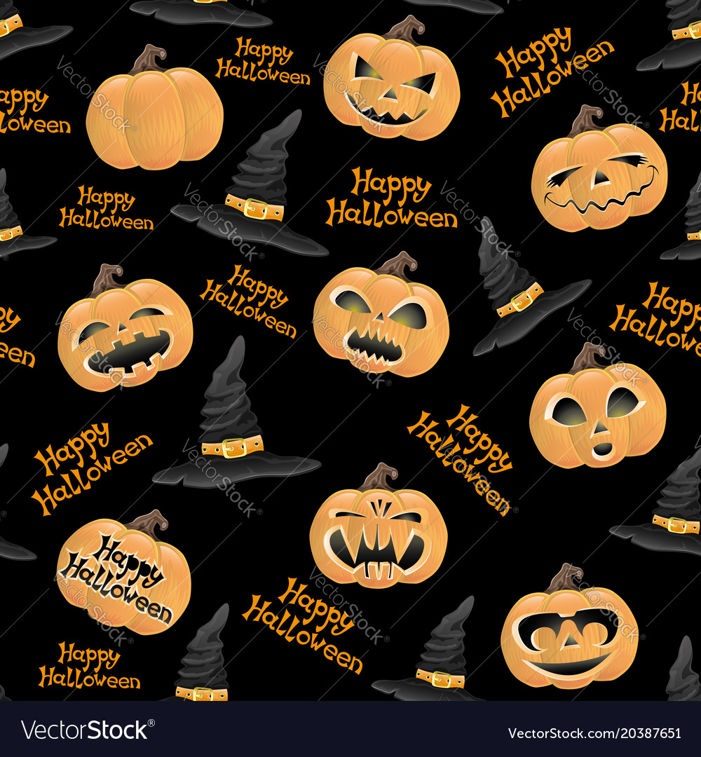 Pumpkins and hats of witch