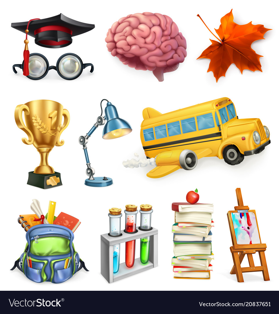 School and education 3d icon set