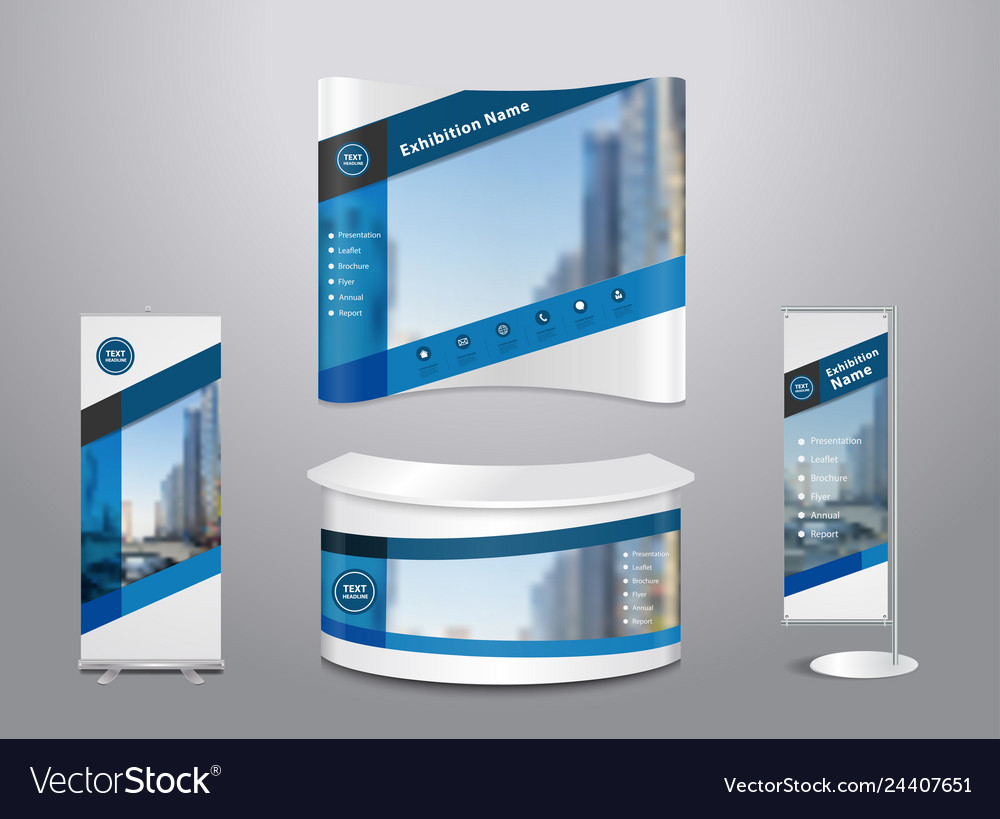 Set trade exhibition stand with cover