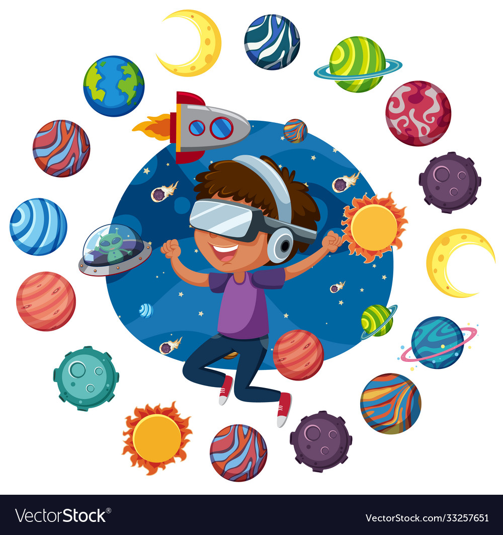 Space logo with kids wearing virtual reality