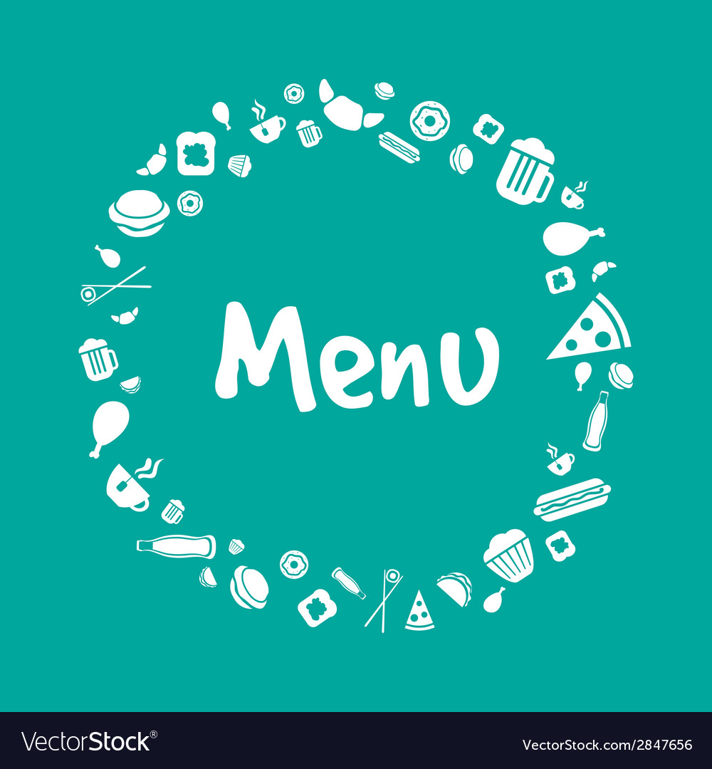blue menu cover design with food icons set vector image