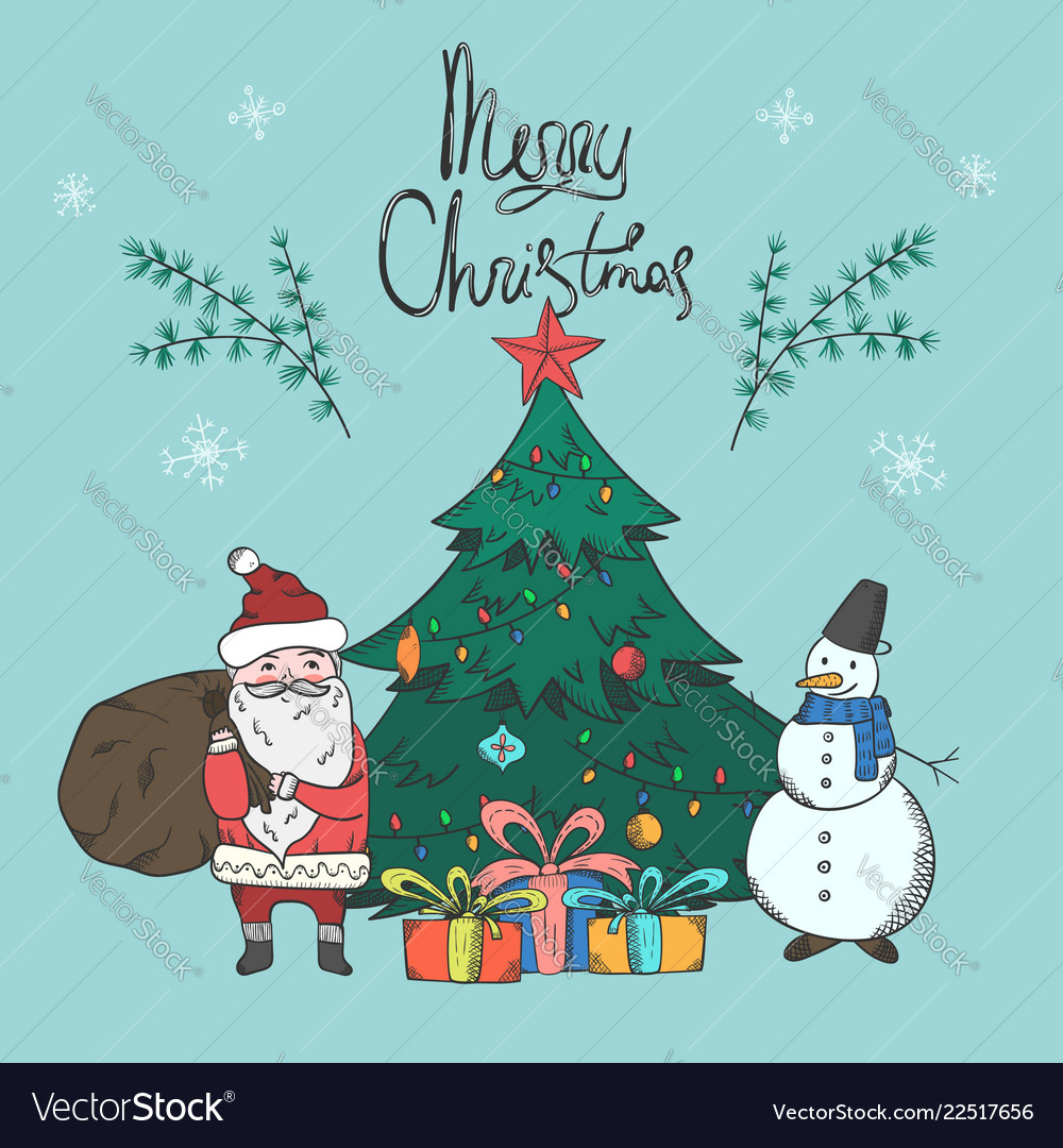 Bright christmas card with santa and snowman