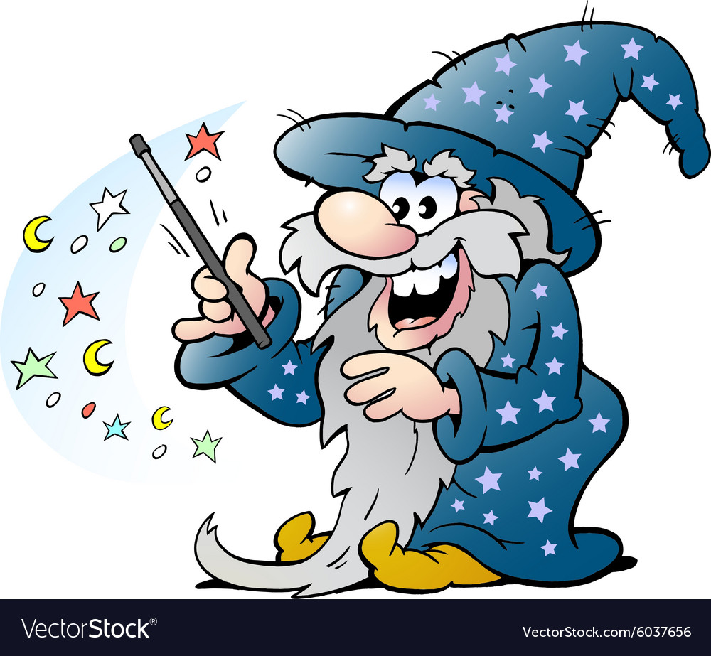 Cartoon of a Happy Old Wizard Magic Man holding a
