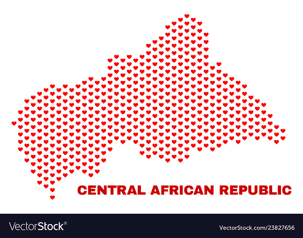 Central african republic map - mosaic of love