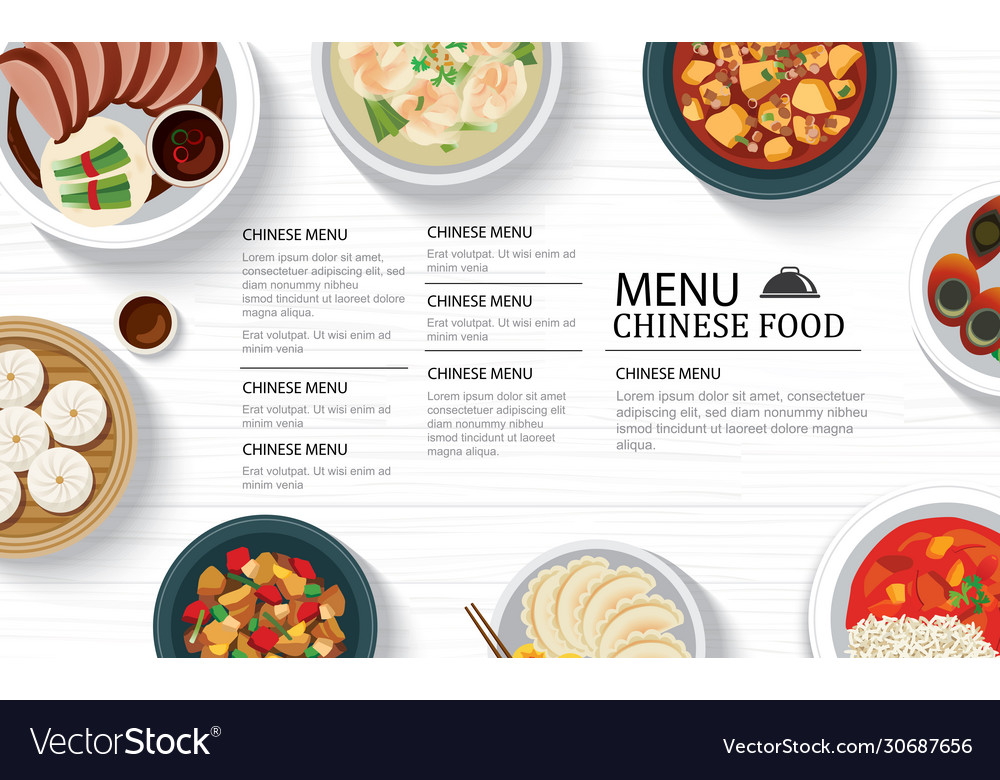 Chinese food menu restaurant on a white wooden
