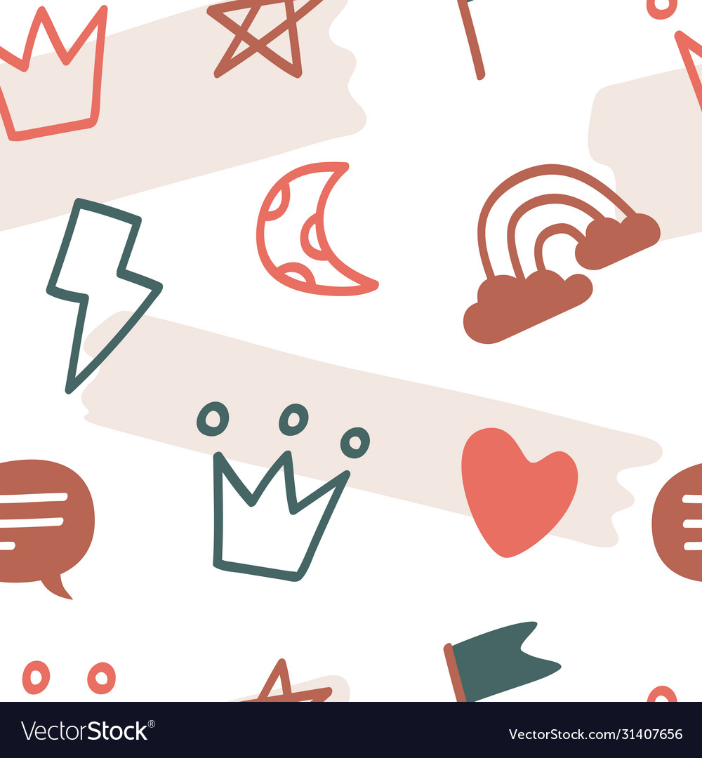 Colorful various crown heart star cloud symbols