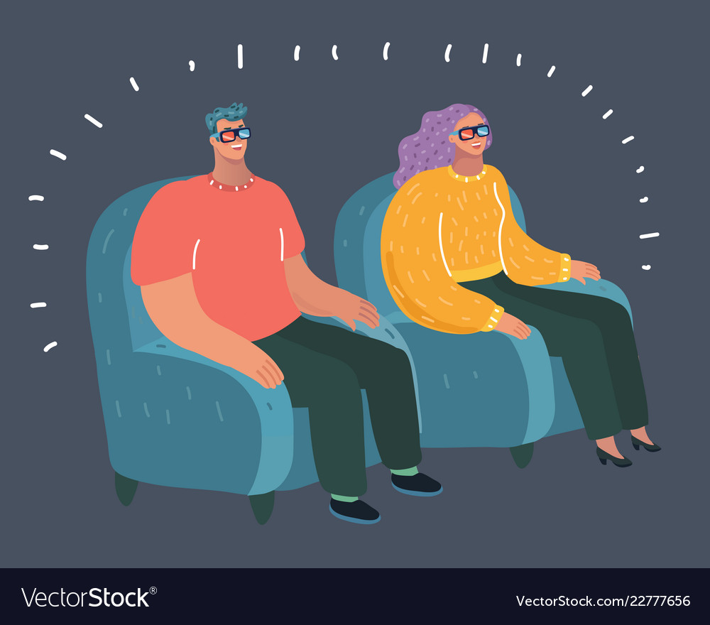 Couple Seating In Cinema Theatre Watching Movie Vector Image