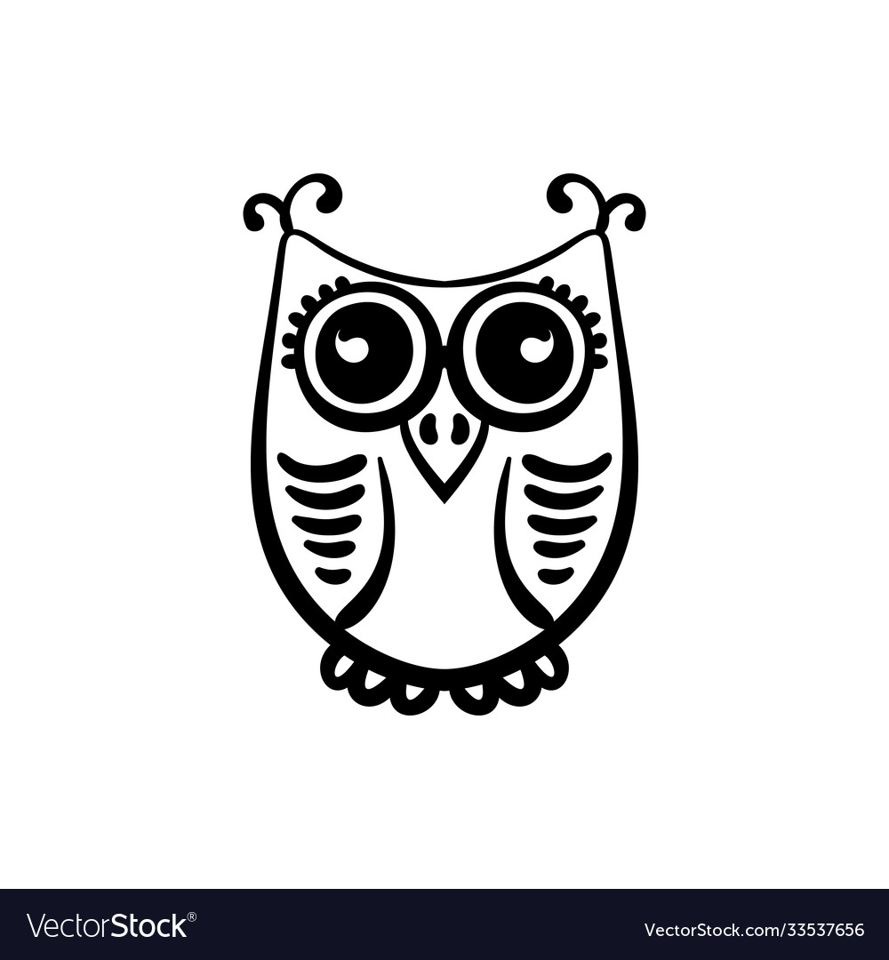 Hand drawn owl doodle black and white entangle