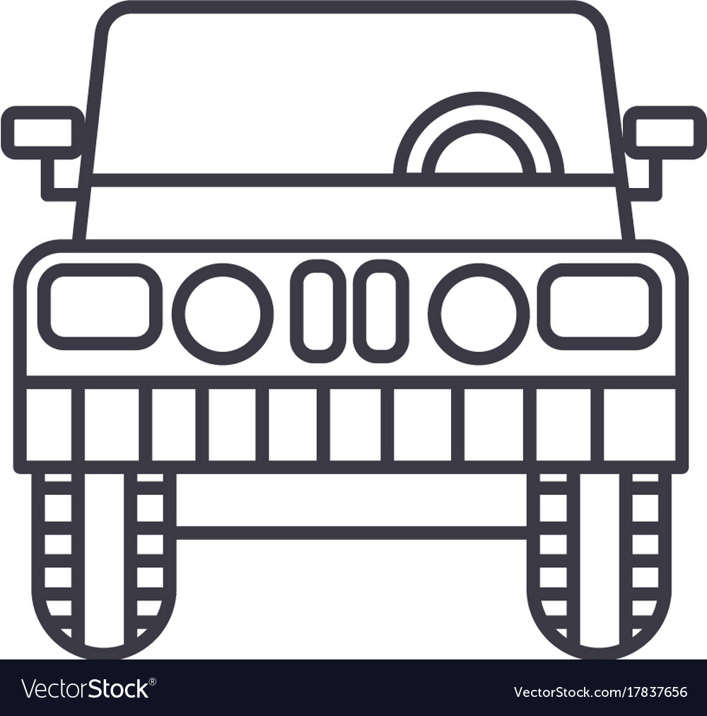 jeep front view line icon sign royalty free vector image