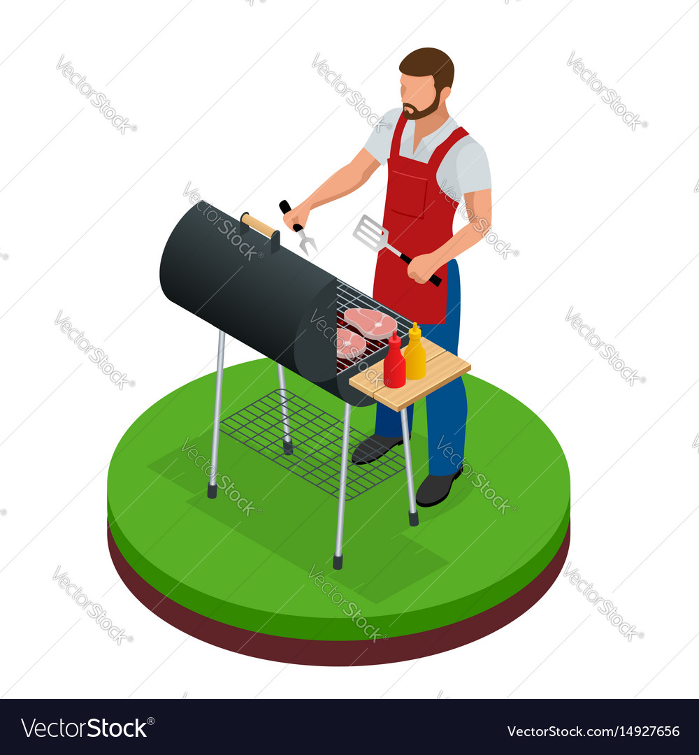 Male preparing barbecue outdoors grill summer
