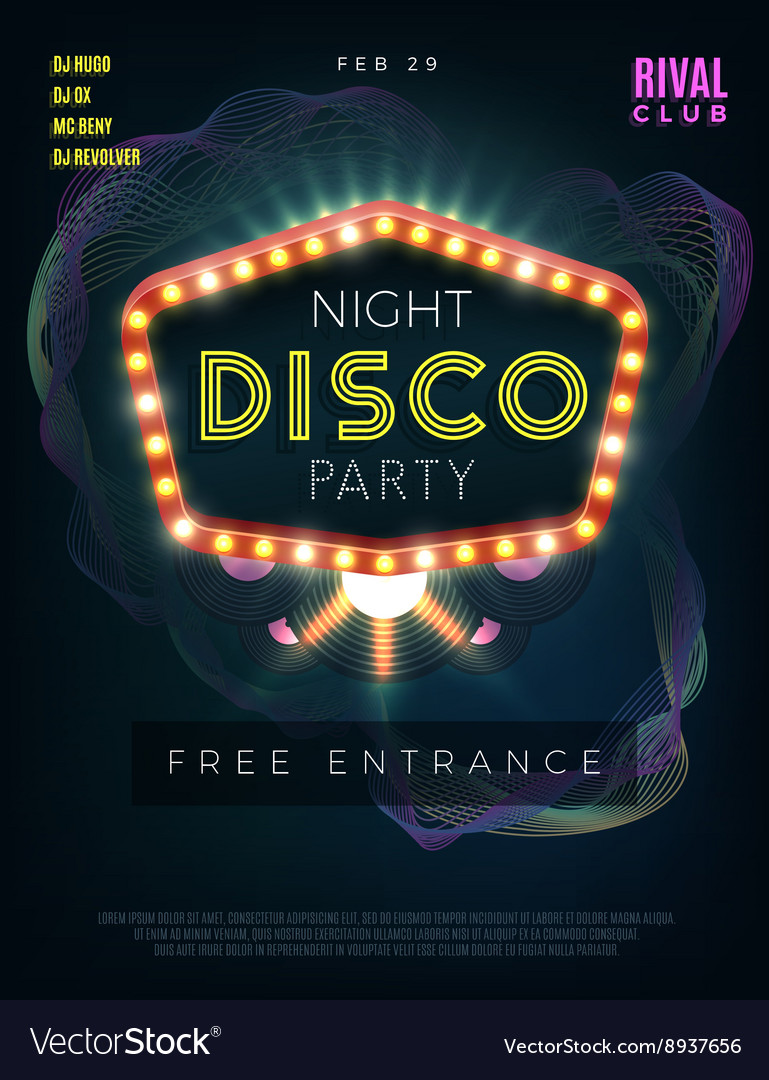 Night disco dance party poster with glowing frame vector image