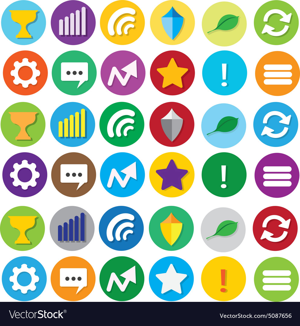 Round Website Social Navigation Icons Royalty Free Vector bf374e336