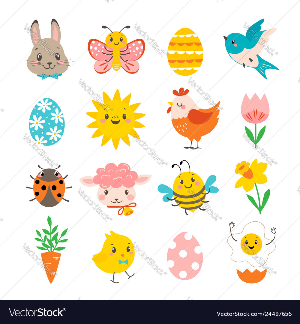 Set of cute spring design elements for easter