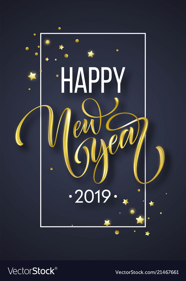 2019 new year hand written lettering with golden