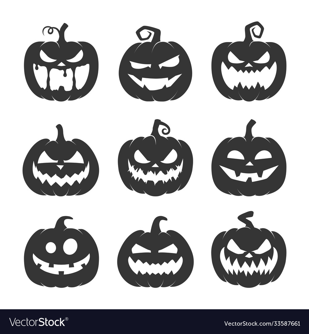 Black pumpkin with face icon set
