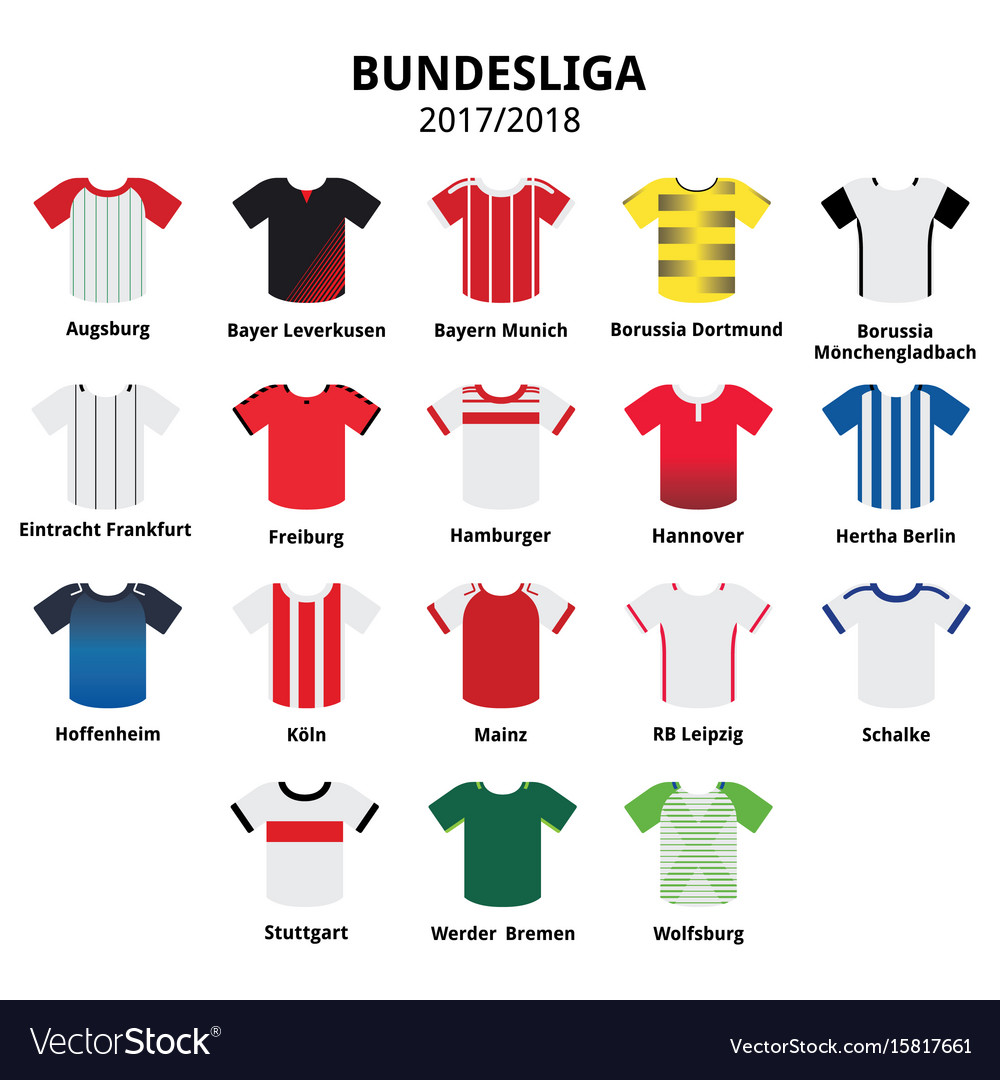 Bundesliga jerseys 2017 - 2018 german football vector image