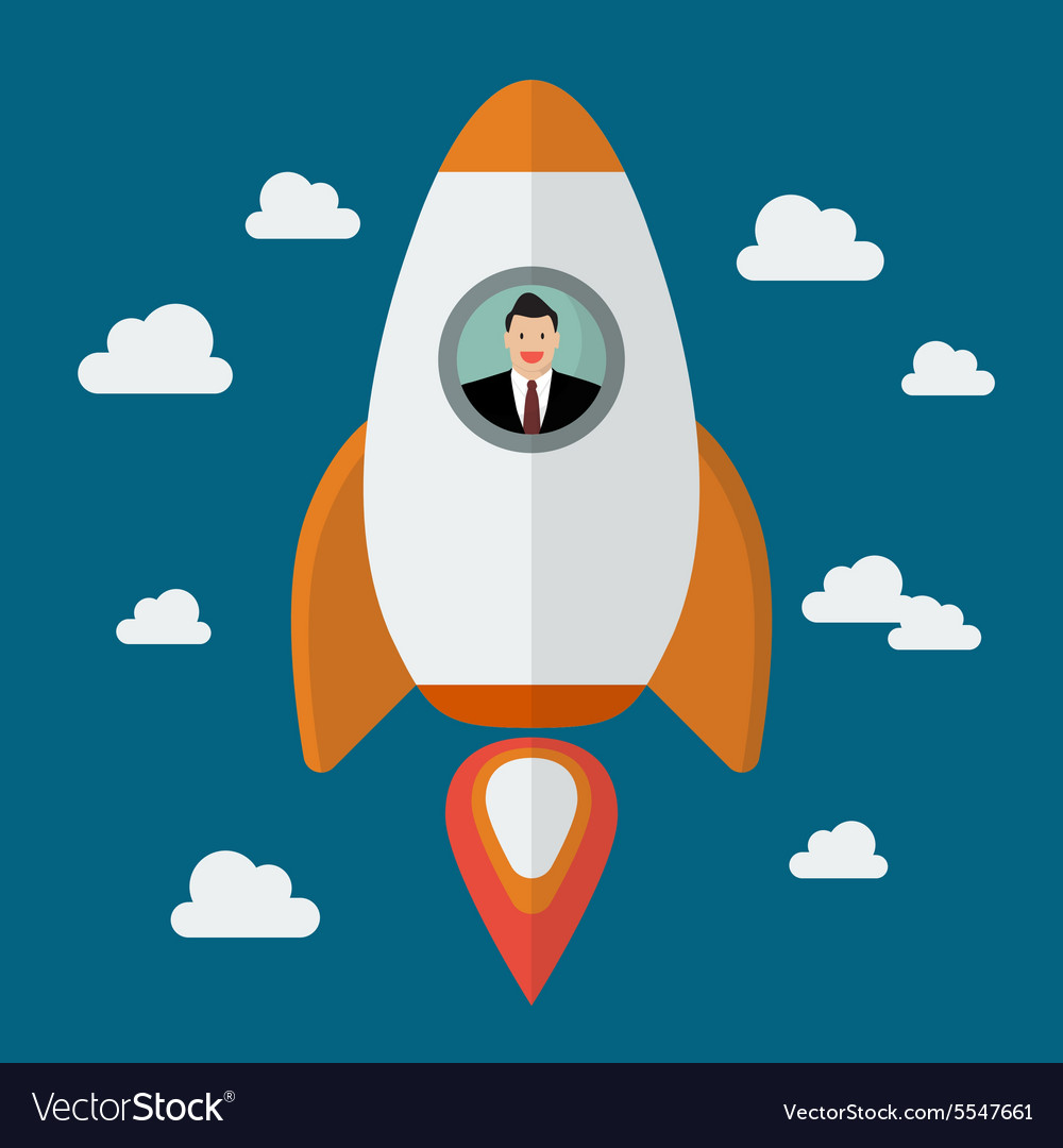 Businessman on a rocket