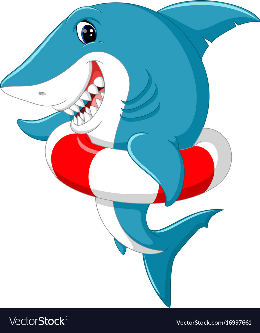 Cute shark cartoon with inflatable ring Royalty Free Vector