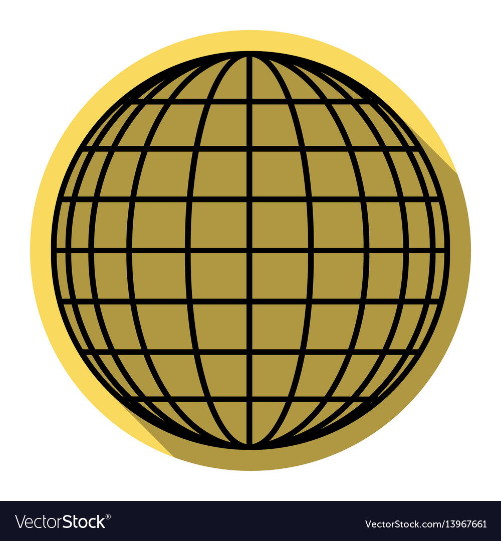 Earth globe sign flat black icon with