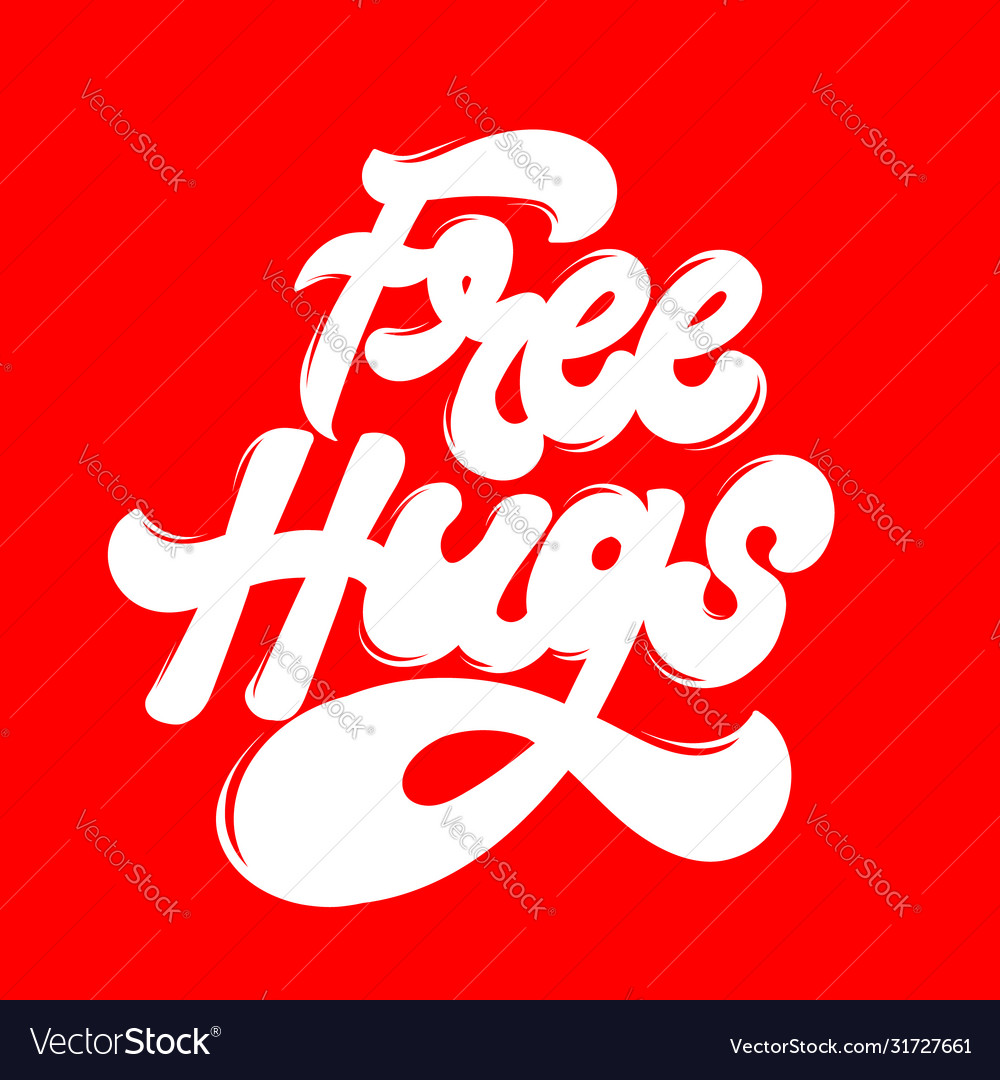 Free hugs hand drawn lettering isolated