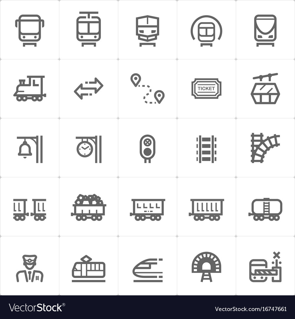 Icon set - train and transport