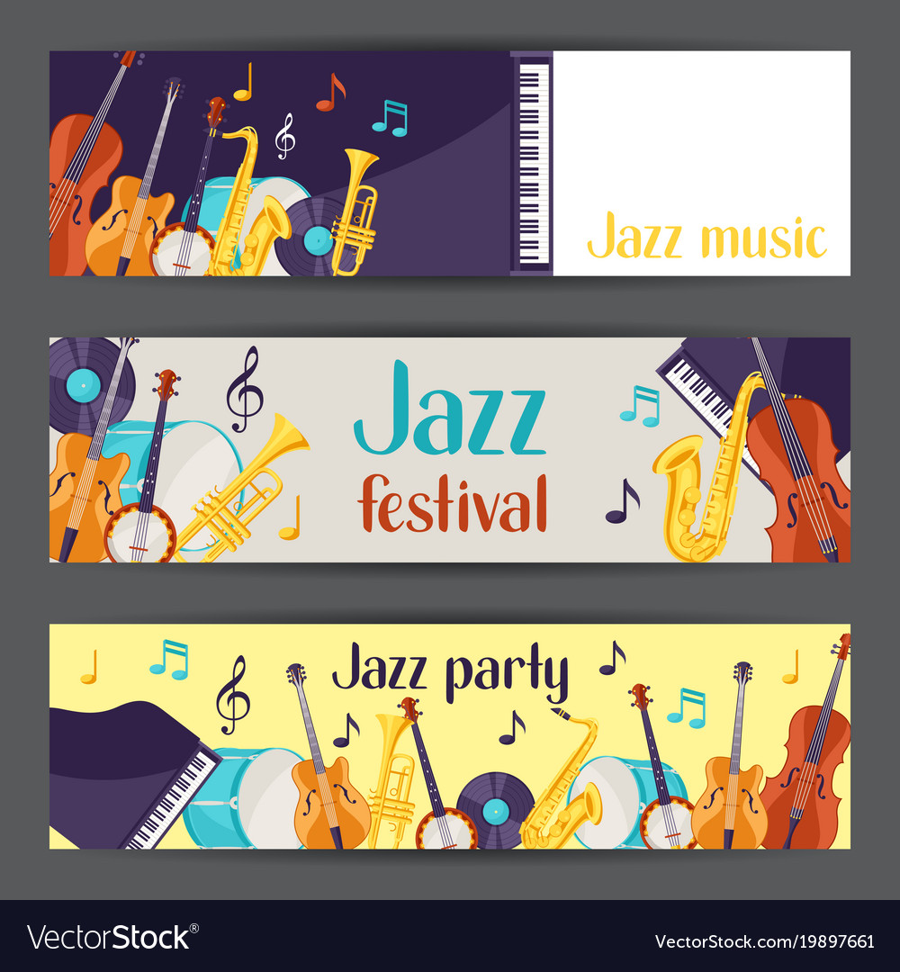 Jazz music party festival banners with musical