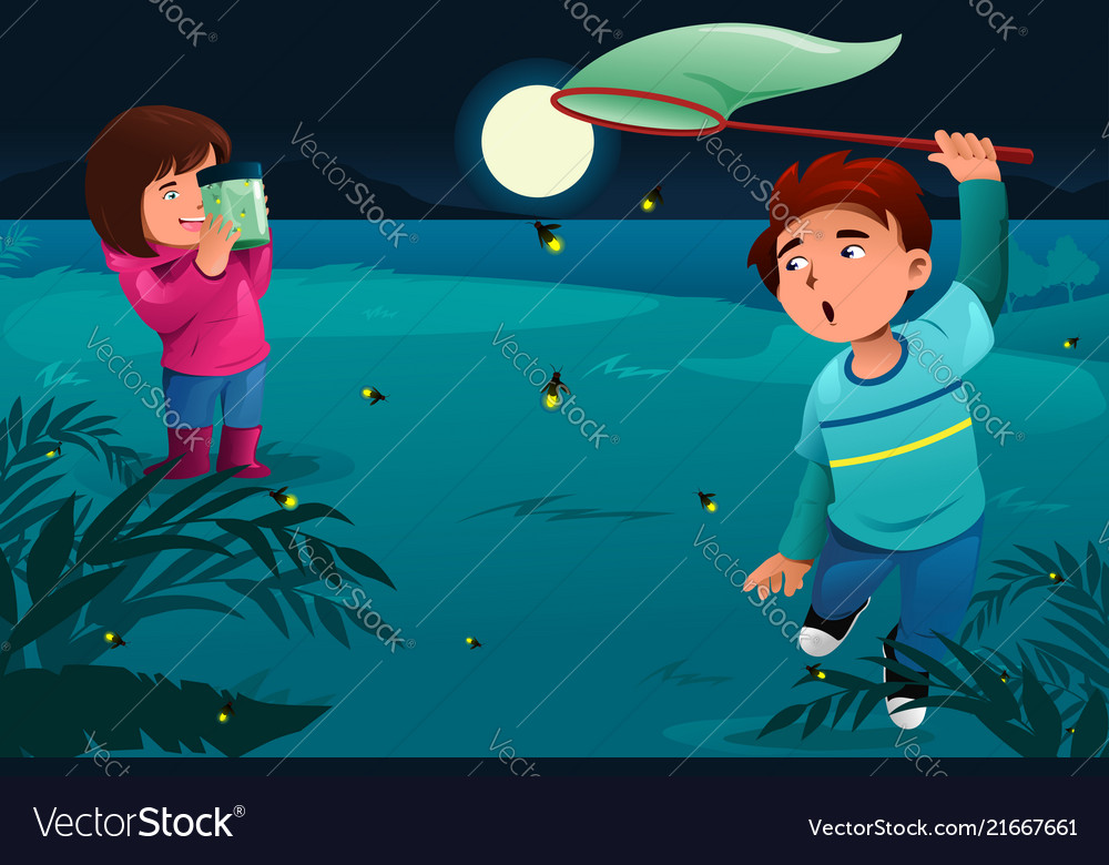 Kids Catching Fireflies Royalty Free Vector Image
